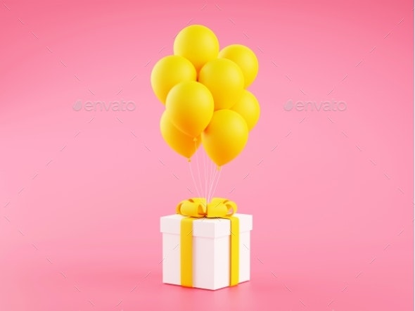 Gift Box with Yellow Ribbon and Balloons on Pink - Objects 3D Renders