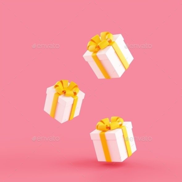 Falling Gift Boxes with Ribbon and Bow 3d Render - Objects 3D Renders