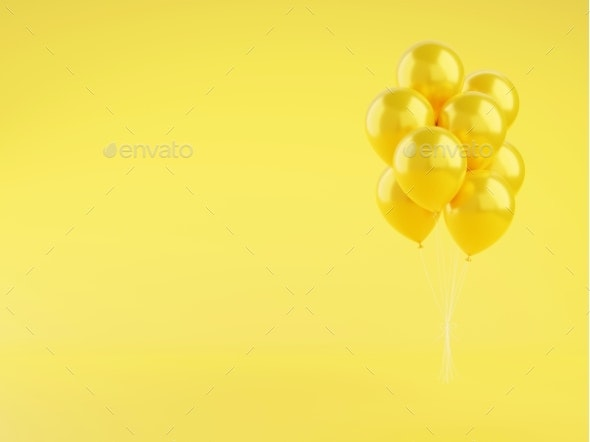 Yellow Glossy Balloons 3d Render Illustration on - Objects 3D Renders