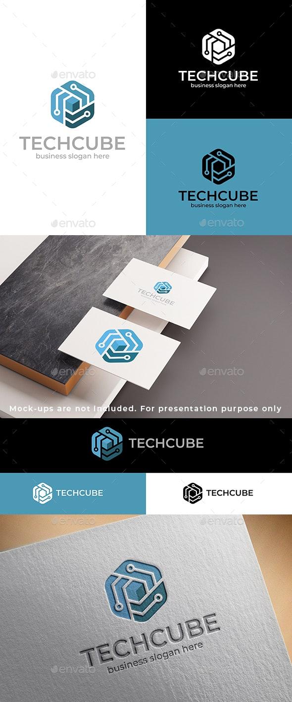 Tech Cube Logo - Vector Abstract