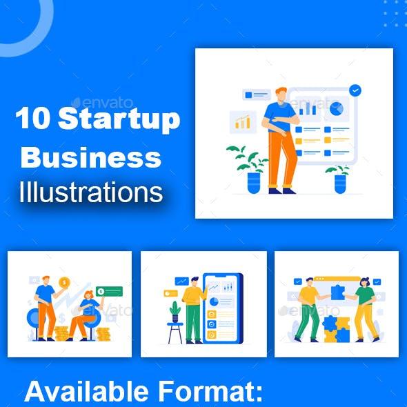 Startup Business Flat Illustration Graphic