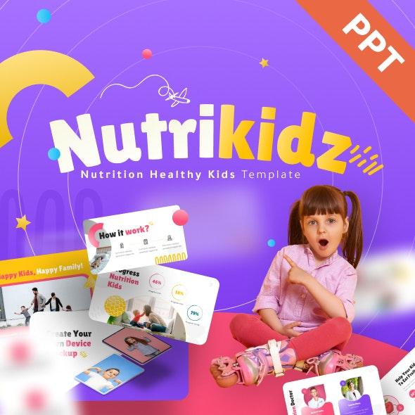 Nutrikidz Nutrition Healthy Kids Powerpoint Presentation Template - Creative PowerPoint Templates