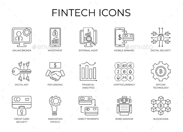 Financial Investment and Internet Banking Icon - Technology Icons