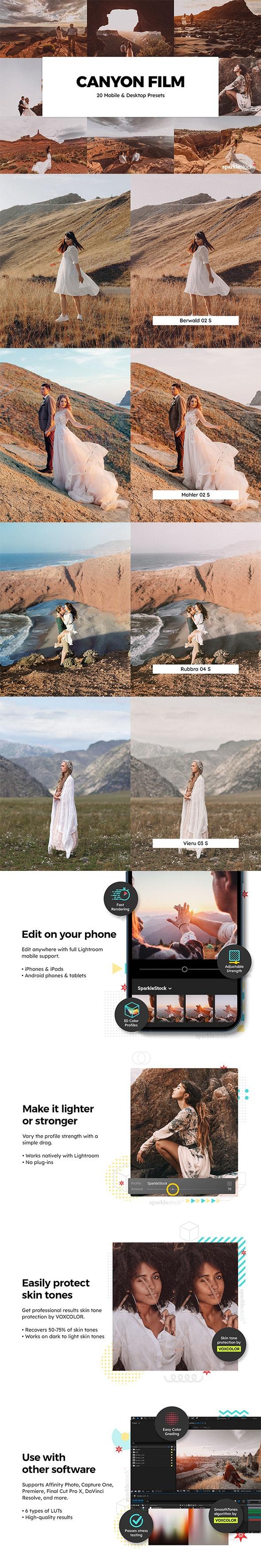 20 Canyon Film Lightroom Presets & LUTs - Film Lightroom Presets