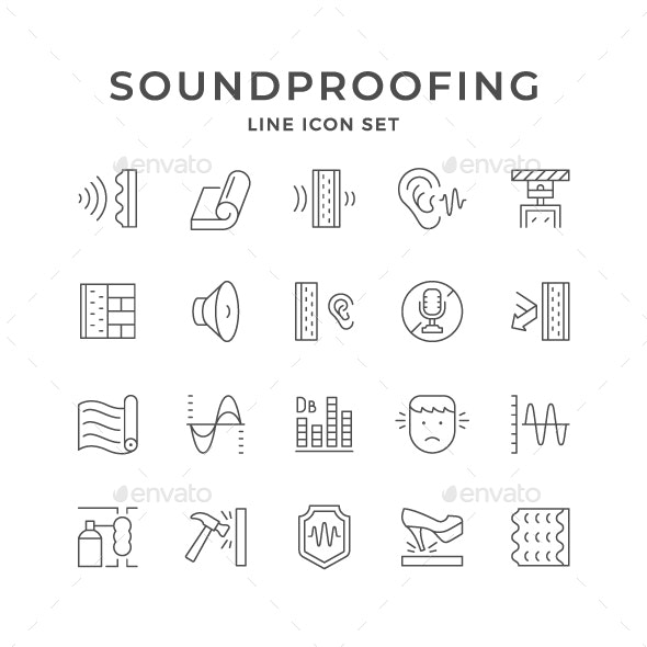 Set Line Icons of Soundproofing - Man-made objects Objects