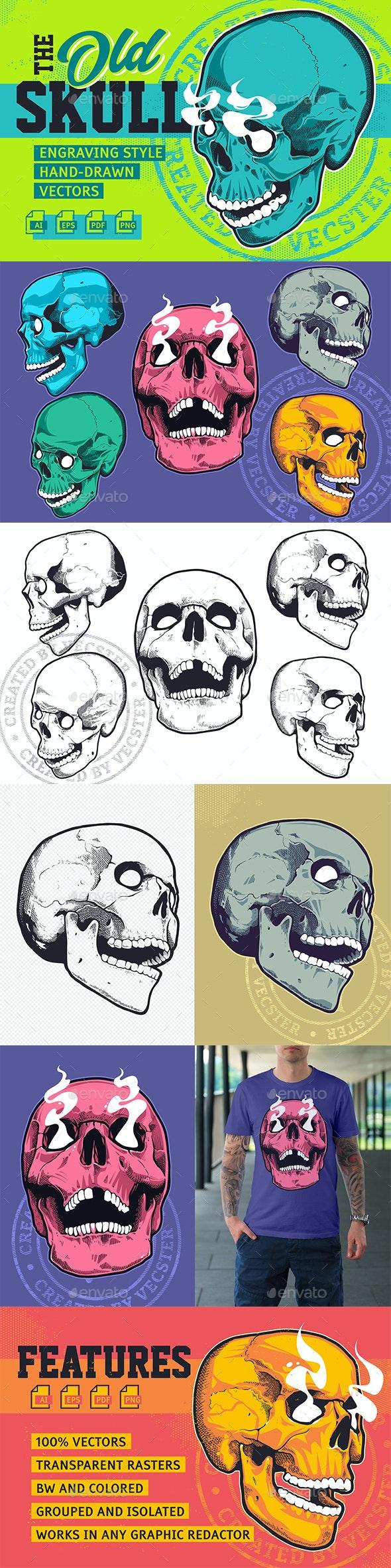 Skull Engraving Style Vectors - Tattoos Vectors