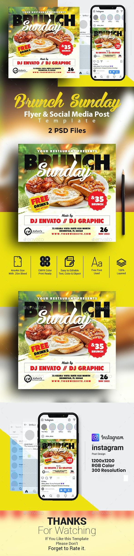 Brunch Sunday Flyer & Social Media Post - Restaurant Flyers