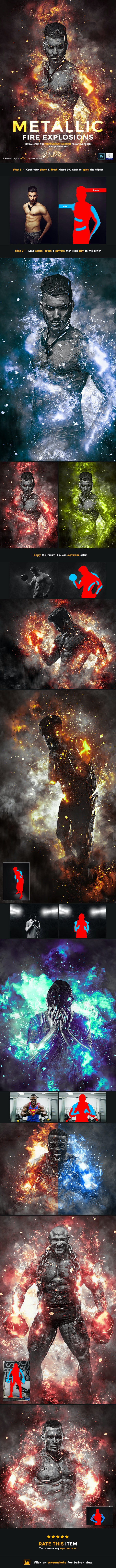 Metallic - Fire Explosion PS Action - Photo Effects Actions