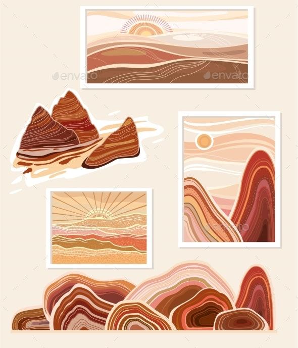 Flat of Abstract Minimalist Landscapes Mountains - Abstract Conceptual