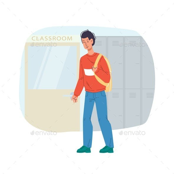 Flat Cartoon Character Stands on Interior