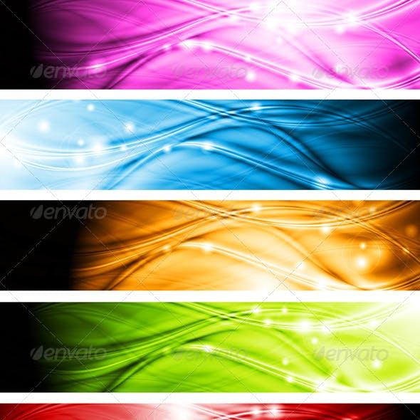 Vibrant wavy banners