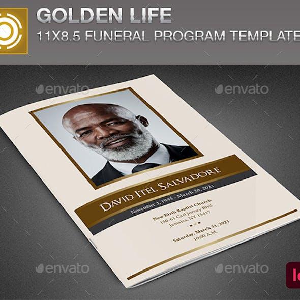 Golden Life Funeral Program InDesign Template