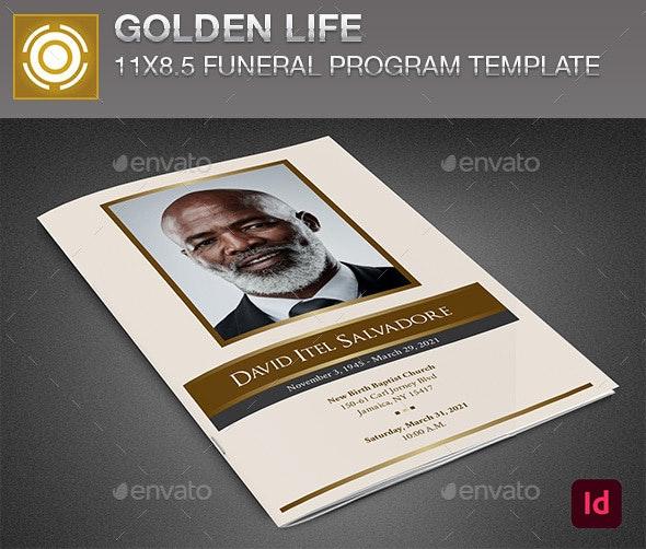 Golden Life Funeral Program InDesign Template - Informational Brochures