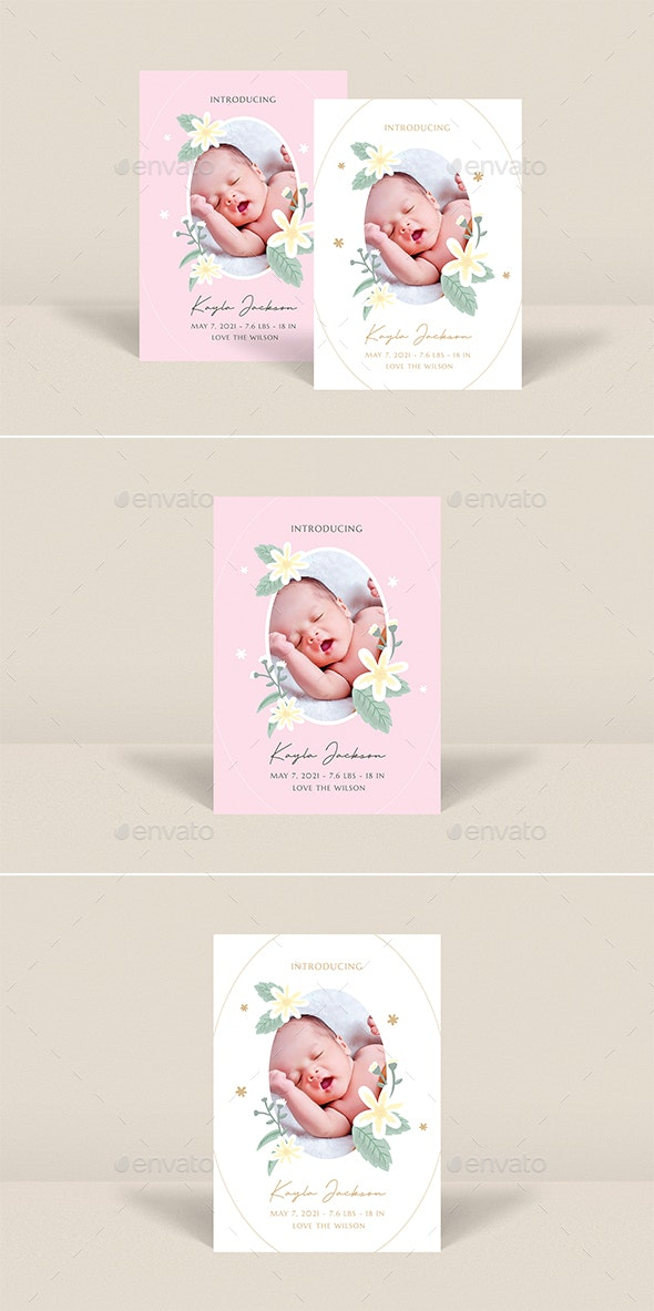 Baby Birth Announcement Card - Cards & Invites Print Templates