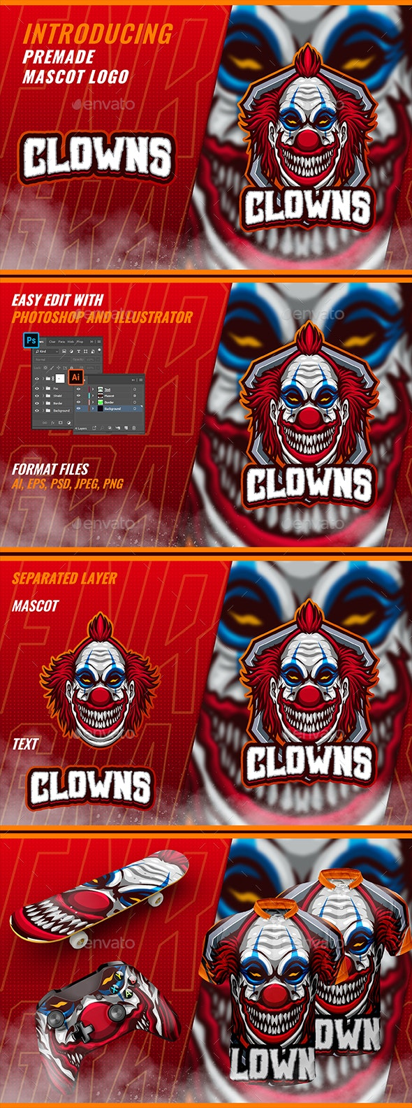Creepy Clown - Mascot & Esport Logo - Humans Logo Templates