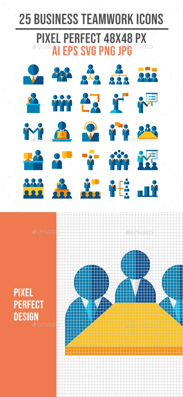 25 Business Teamwork Flat Icon Set - People Characters