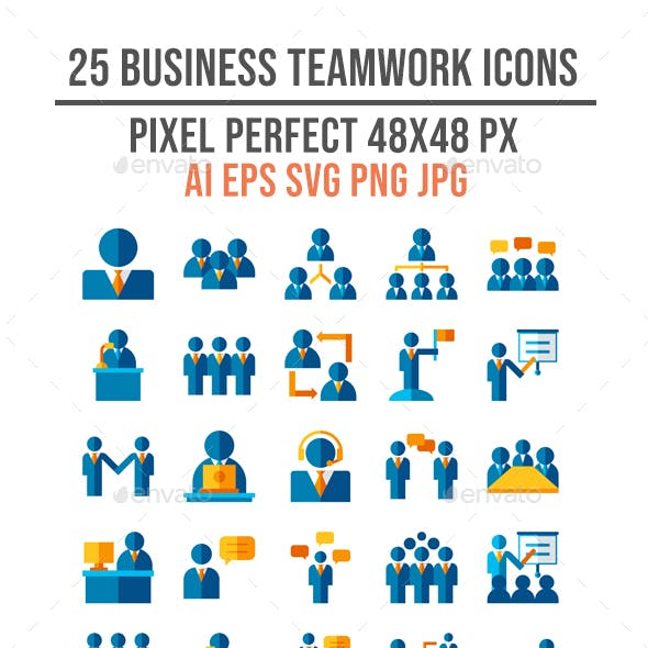25 Business Teamwork Flat Icon Set