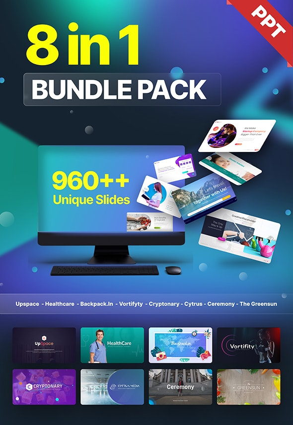 8 in 1 Bundle Pack Creative Powerpoint Template Fully Animated - Business PowerPoint Templates