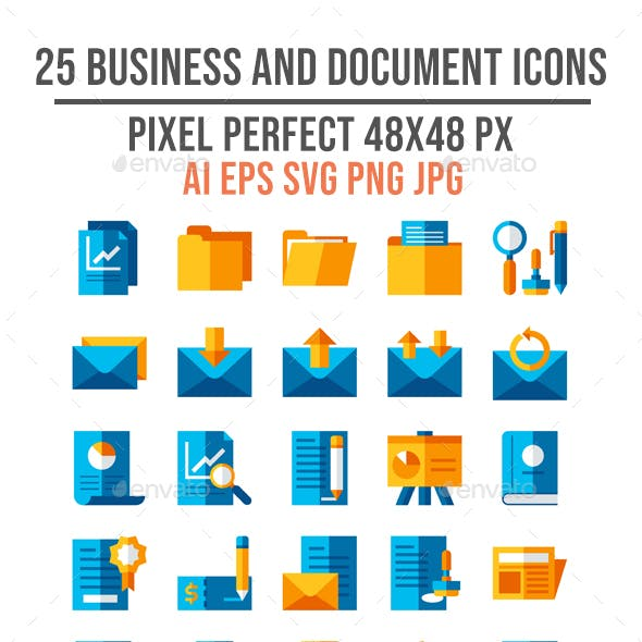 25 Business and Document Flat Icons