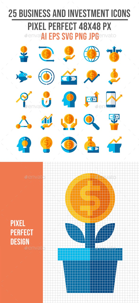 25 Business and Investment Flat Icons - Business Icons