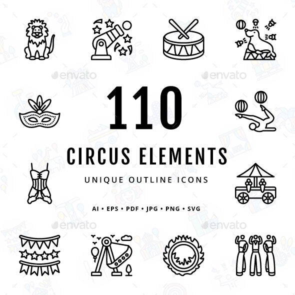 Circus Elements Unique Outline Icons - Miscellaneous Characters