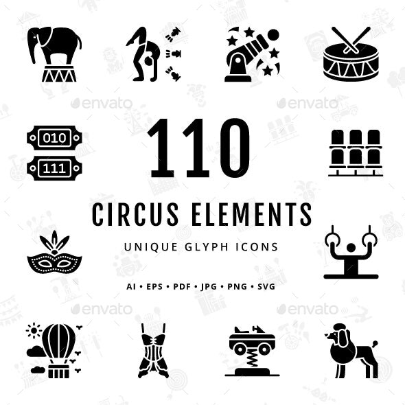 Circus Elements Unique Glyph Icons - Miscellaneous Characters