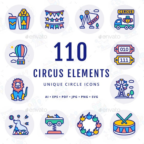 Circus Elements Unique Circle Icons - Miscellaneous Characters