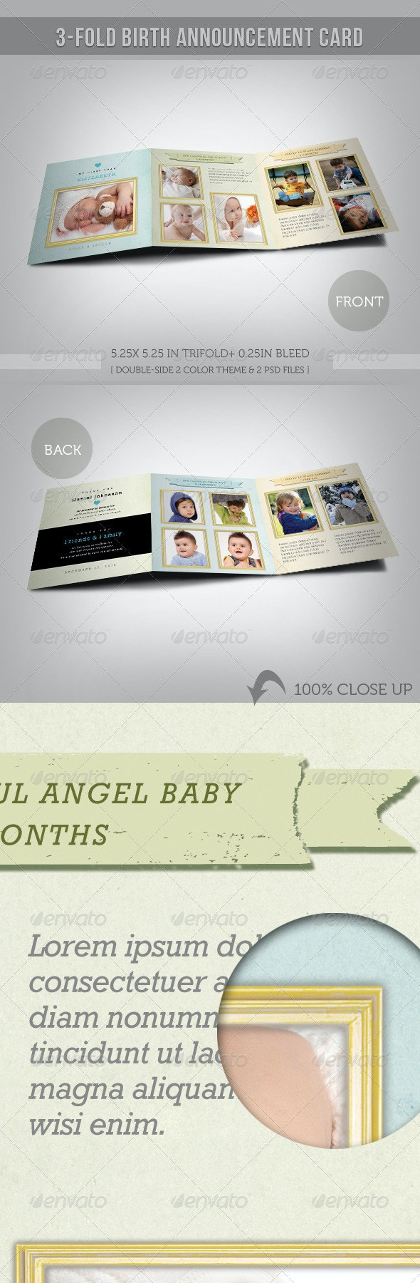 3-fold Birth Announcement Card With Images 02 - Cards & Invites Print Templates