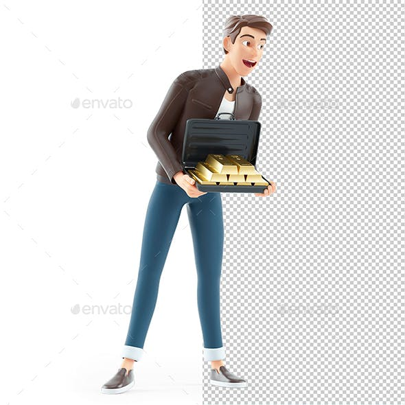 3D Cartoon Man Holding Briefcase full of Gold Bars