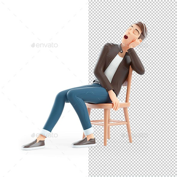 3D Cartoon Man Sleeping on Chair