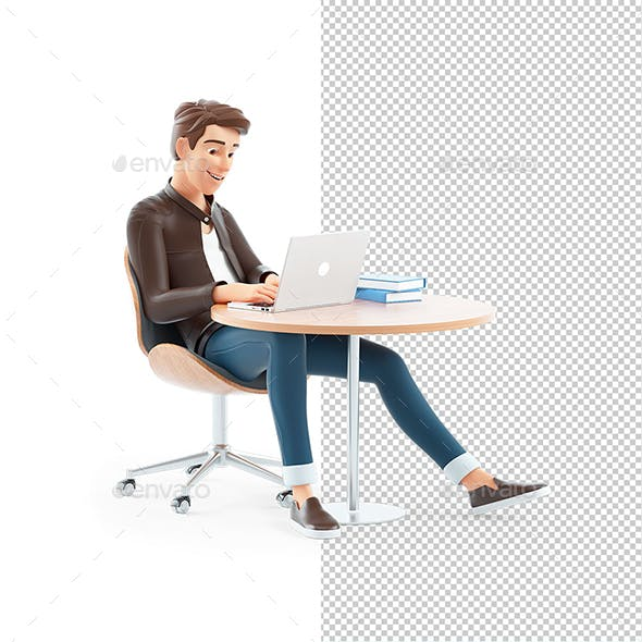 3D Cartoon Man Working on Laptop