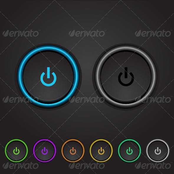 Vector Neon Glowing Power Buttons