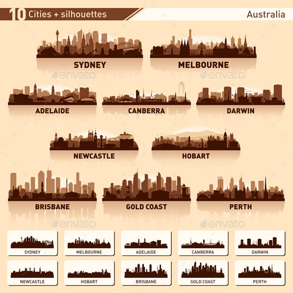 Skyline City Set. 10 Cities of Australia - Buildings Objects