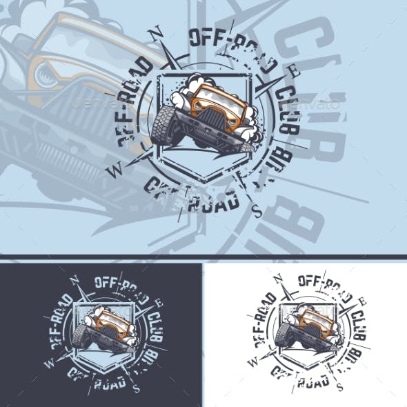 OffRoad Car Logo with a Compass on the Background