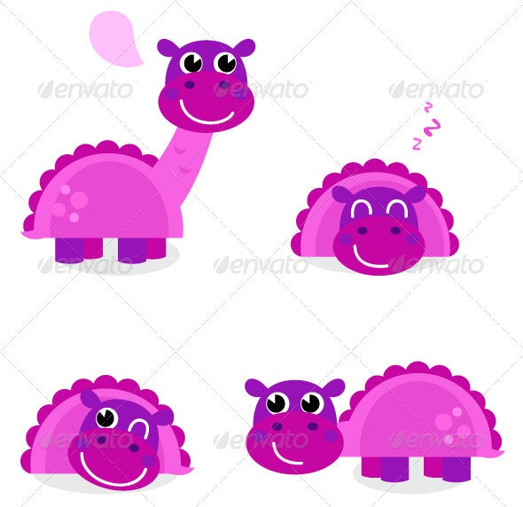 Cute pink dinosaur set isolated on white - Animals Characters