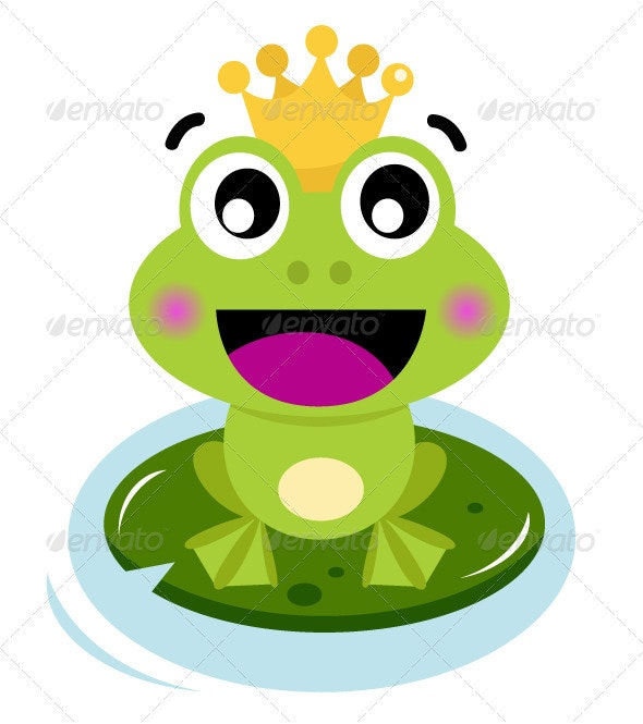 Cute surprised Frog Prince isolated on white - Animals Characters