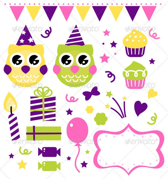 Owl birthday party design elements set - Animals Characters