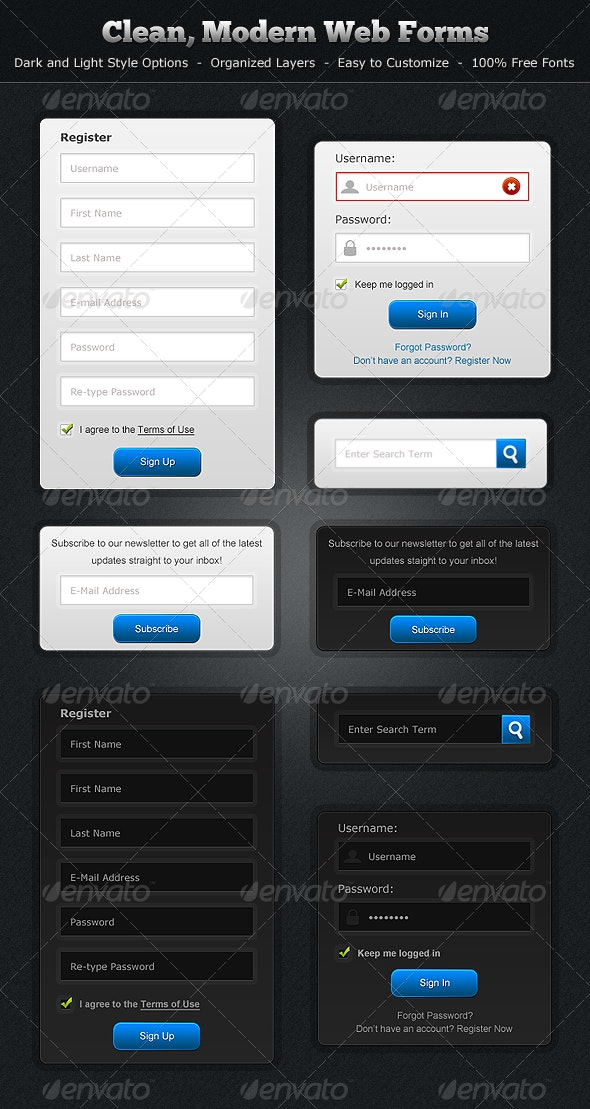 Modern, Clean Web Forms - Dark and Light Styles - Forms Web Elements