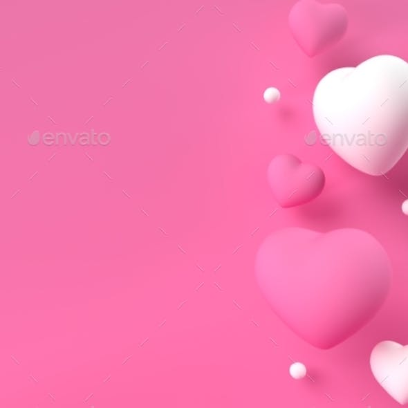 3d Render Illustration with Hearts