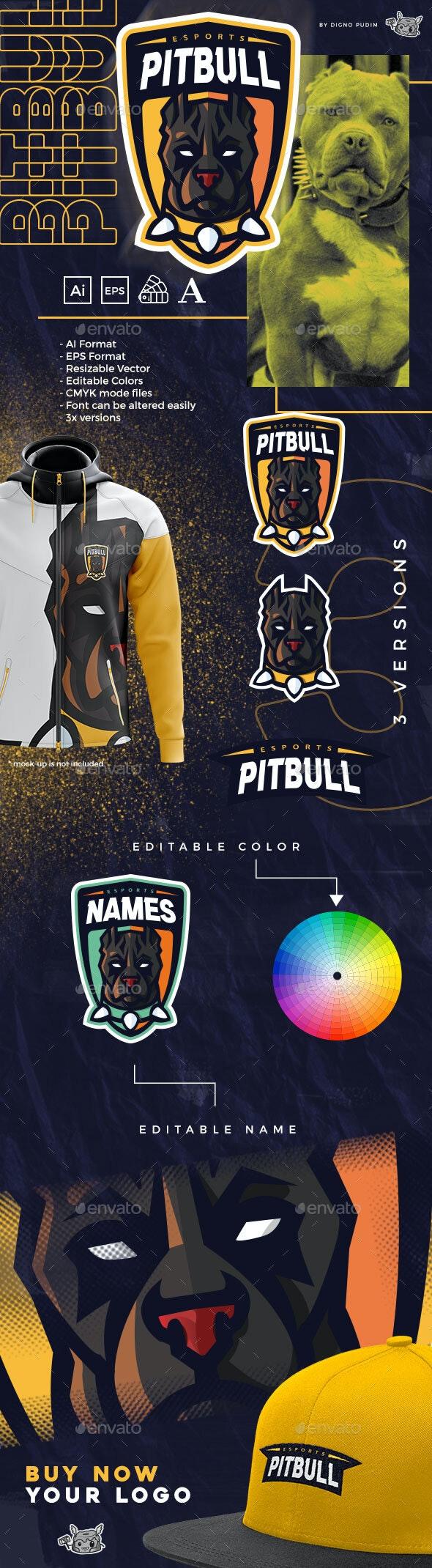 Sports Mascot Logo American Pit Bull Terrier - Sports Logo Templates