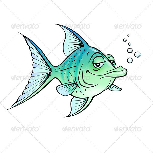Green cartoon fish - Miscellaneous Characters