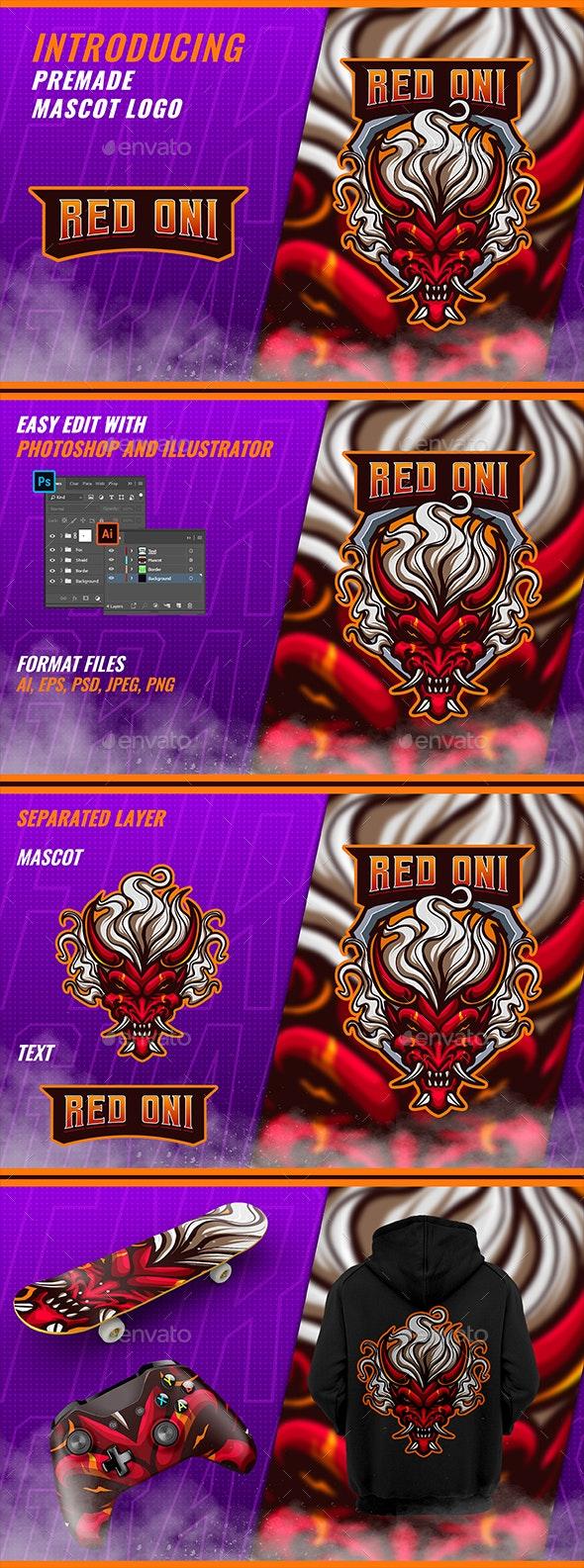 Red Oni - Mascot & Esport Logo - Symbols Logo Templates