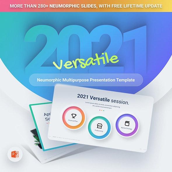 2021 Neumorphic Premium PowerPoint Presentation Template - Business PowerPoint Templates