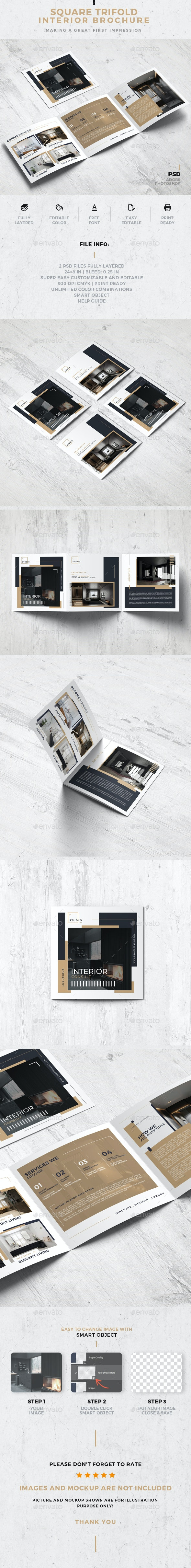 Square Trifold Interior Design Brochure - Corporate Brochures