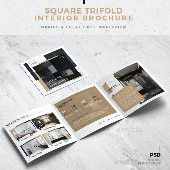 Square Trifold Interior Design Brochure