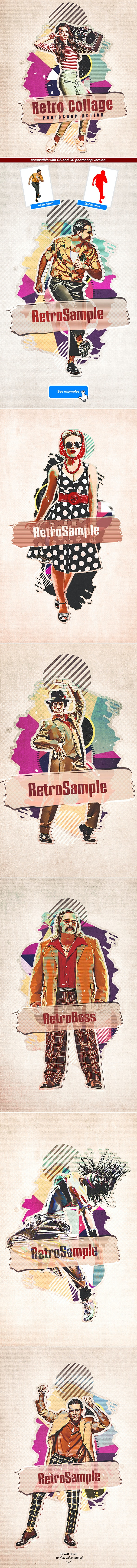 Retro Collage - Photoshop Action - Photo Effects Actions
