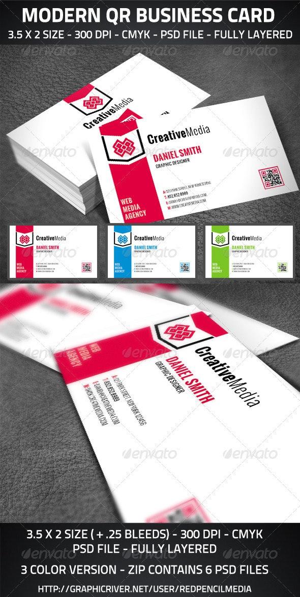 Modern QR Business Card - Corporate Business Cards