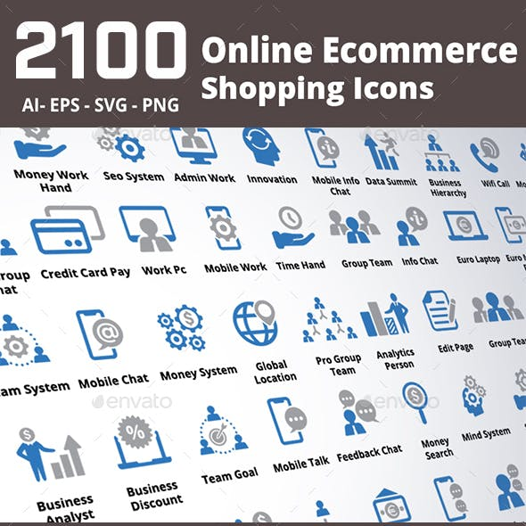 2100 Online Ecommerce Shopping Icons