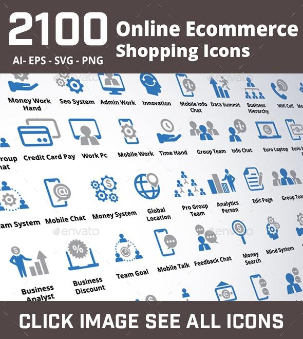 2100 Online Ecommerce Shopping Icons - Web Icons