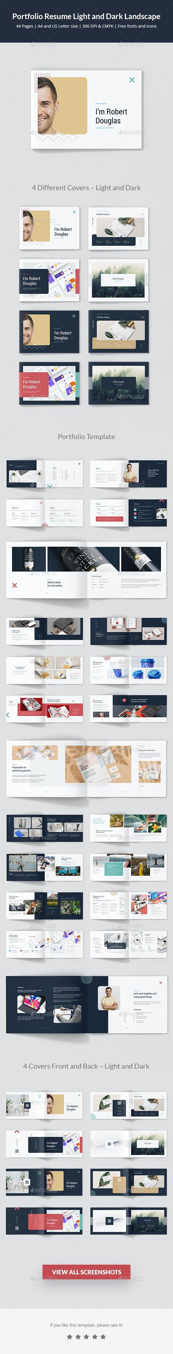 Portfolio Resume Light and Dark Landscape - Portfolio Brochures